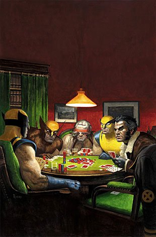 "Wolverines show their best poker faces in this image inspired by C.M. Coolidge's ""Dogs Playing Poker."""