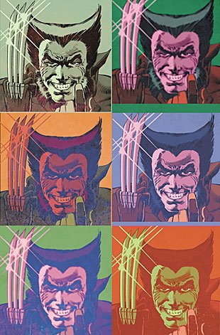 Wolverine goes pop in this Andy Warhol-inspired image.